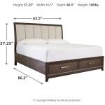 Brueban Queen Panel Bed with 2 Storage Drawers