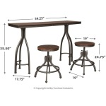 Odium Counter Height Dining Room Table and Bar Stools (Set of 3)