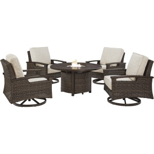 Paradise Trail 5 PC Fire Pit & Lounge Chair Set