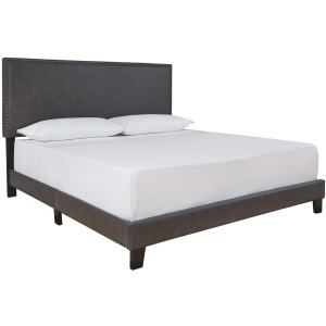Vintasso King Upholstered Headboard/Footboard with Roll Slats