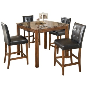 Theo Counter Height Dining Room Table and Bar Stools (Set of 5)
