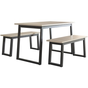 Waylowe Dining Room Table and Benches (Set of 3)