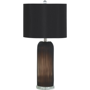 ABANESS BLACK GLASS LAMP SET