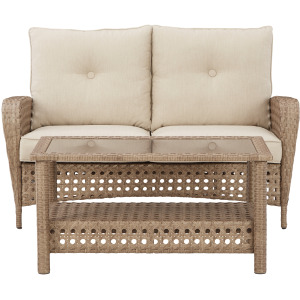 Braylee Outdoor Loveseat with Table (Set of 2)