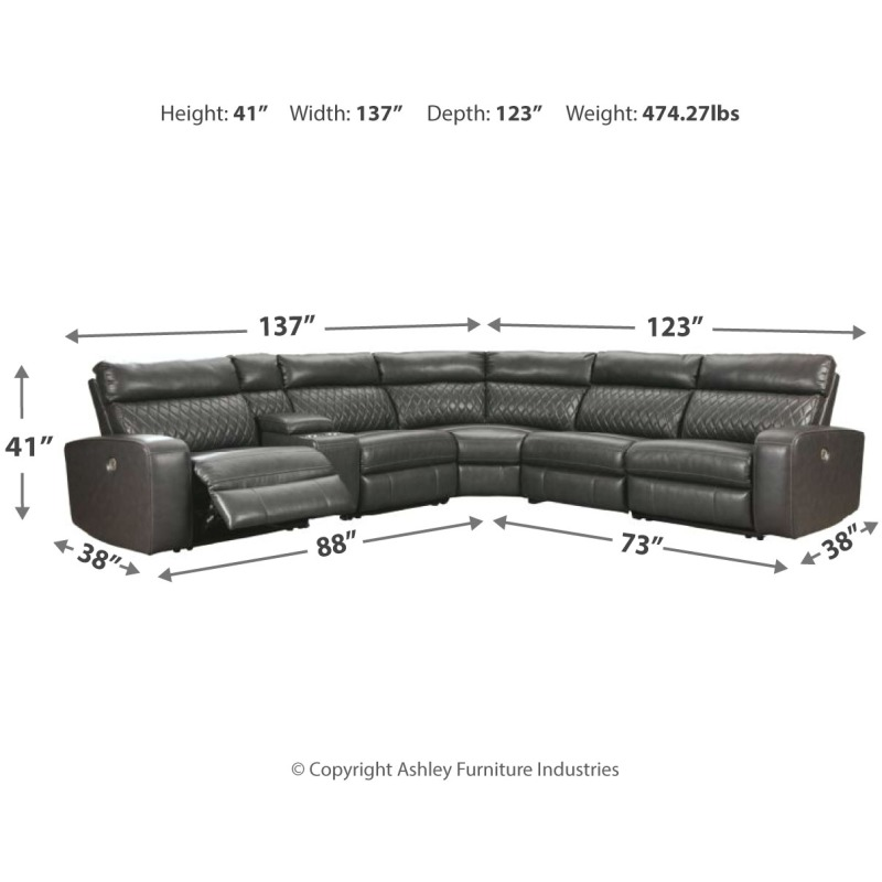 Samperstone 6-Piece Reclining Sectional with Power