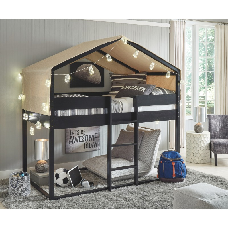 Flannibrook Twin over Twin House Loft Bed