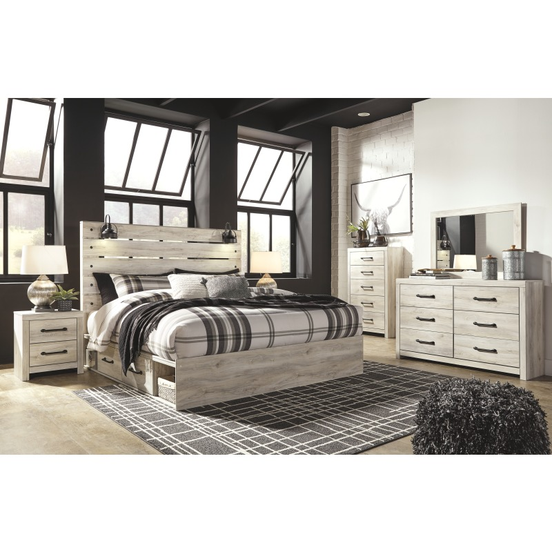 Cambeck King Panel Bed with 4 Storage Drawers