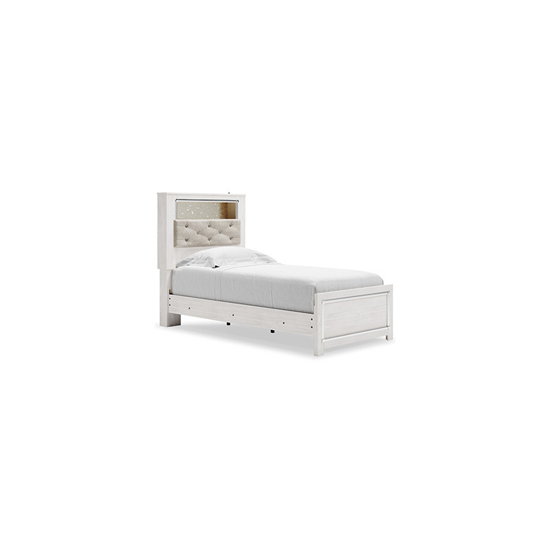 Altyra Twin Upholstered Panel Bookcase Headboard