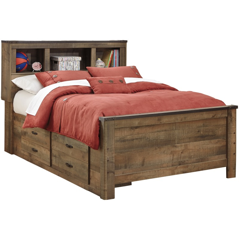 Trinell Full Panel Bed with Drawer Storage