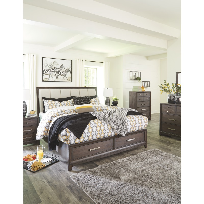 Brueban King Panel Bed with 2 Storage Drawers