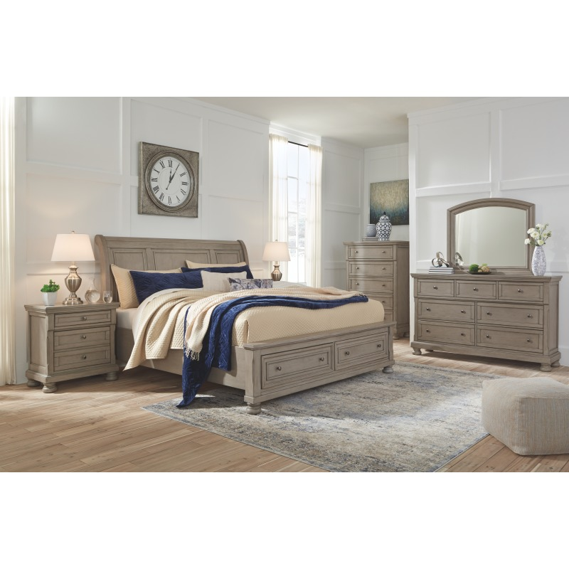 Lettner Queen Sleigh Bed with 2 Storage Drawers