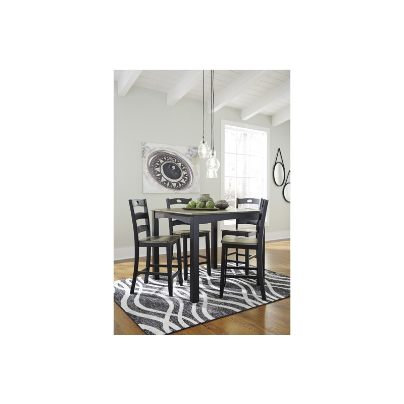 Froshburg Counter Height Dining Room Table and Bar Stools (Set of 5)