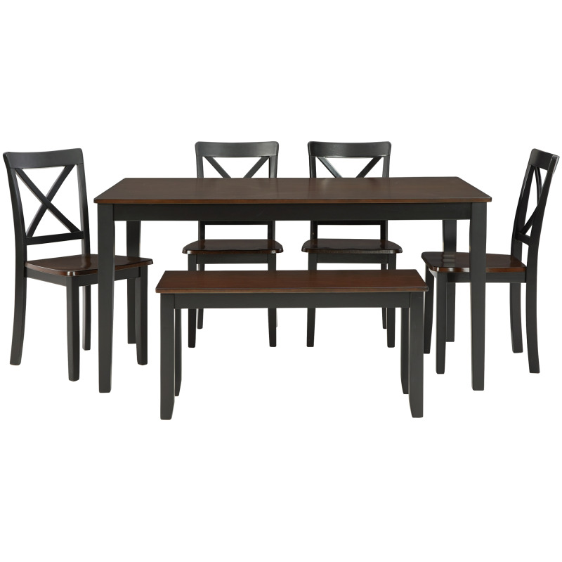 Larsondale Dining Table and Chairs with Bench (Set of 6)