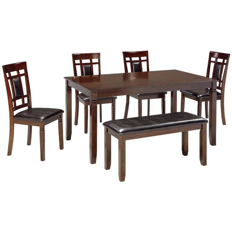 Bennox Dining Room Table and Chairs with Bench (Set of 6)