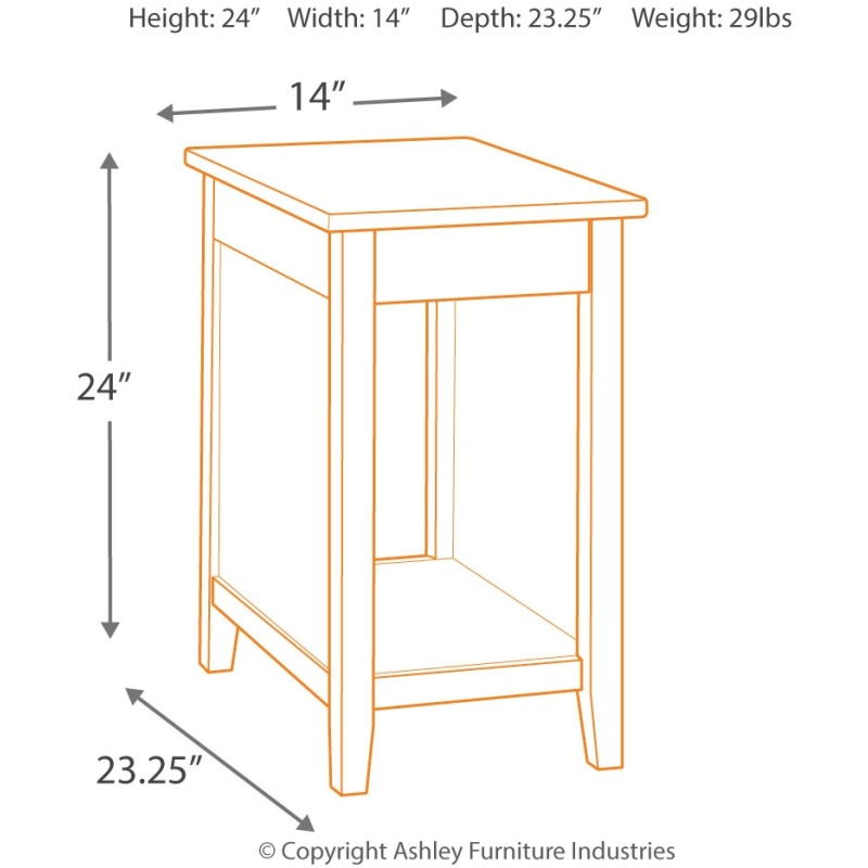 b7414ae86b0646 Diamenton Chairside End Table with USB Ports & Outlets by Signature ...