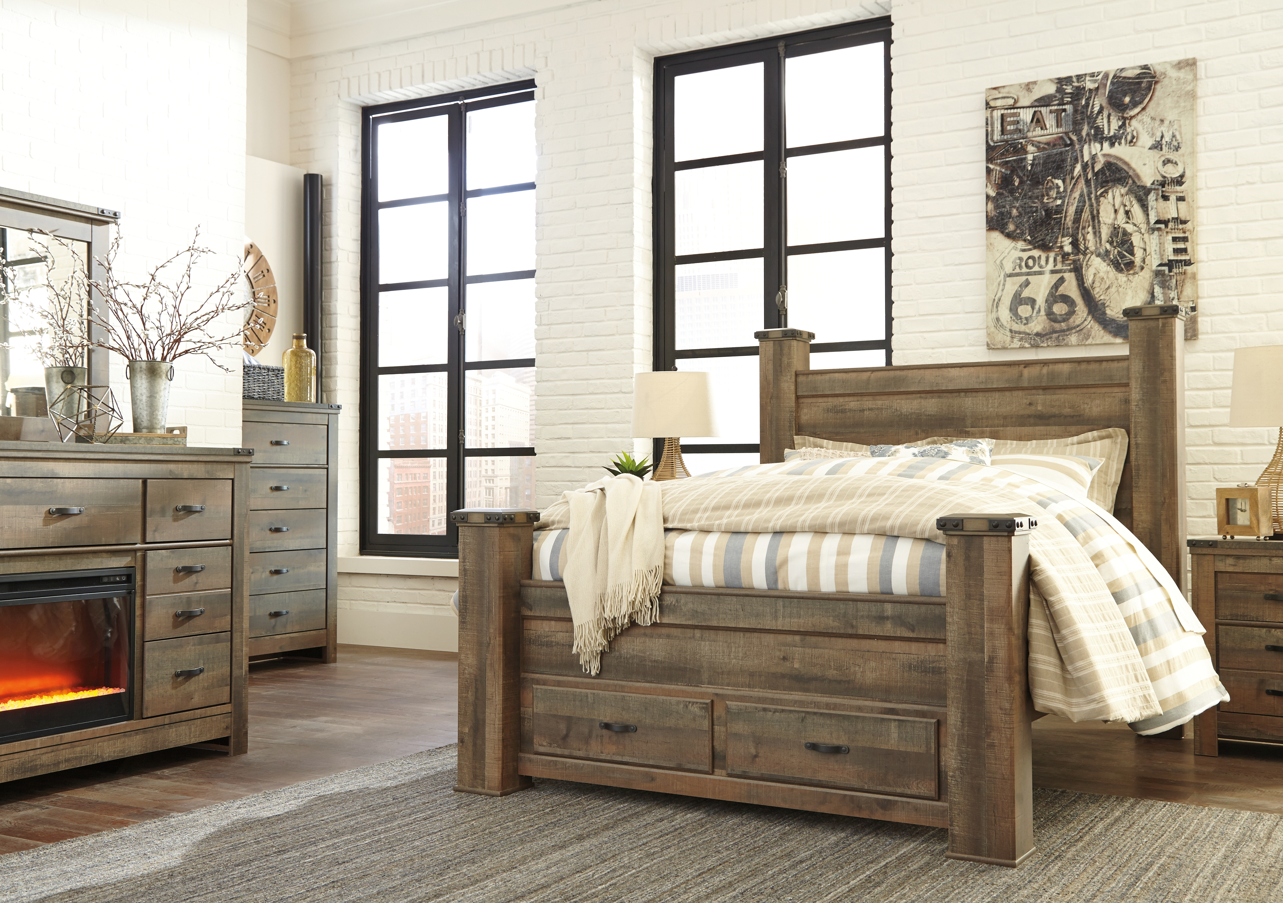 Trinell Queen Poster Bed With Storage By Signature Design By Ashley B446b41 Callan Furniture