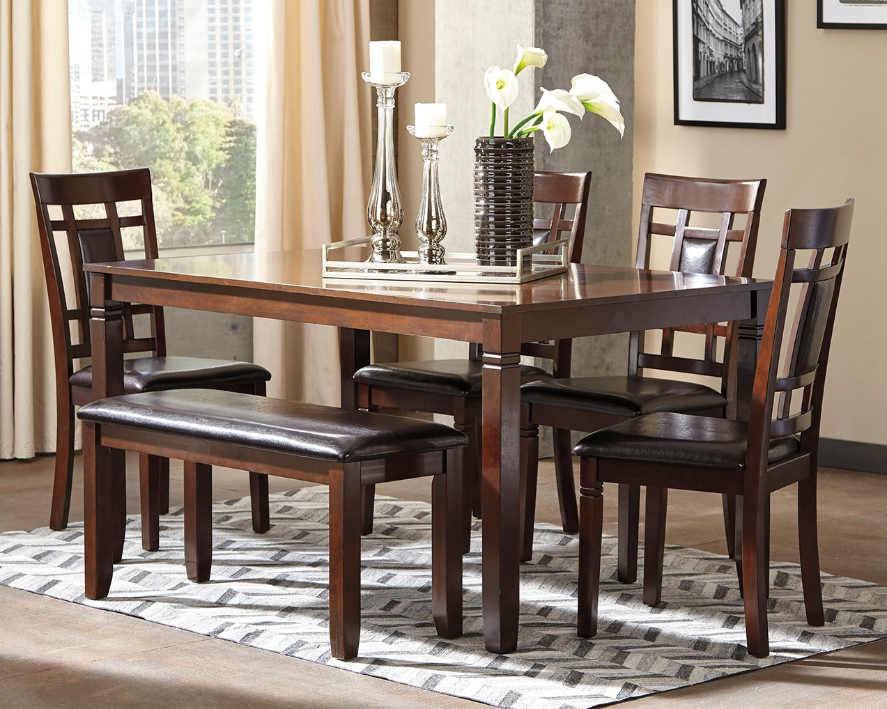 Bennox Dining Room Table And Chairs With Bench Set Of 6 By Signature Design By Ashley D384 325 Scholet Furniture