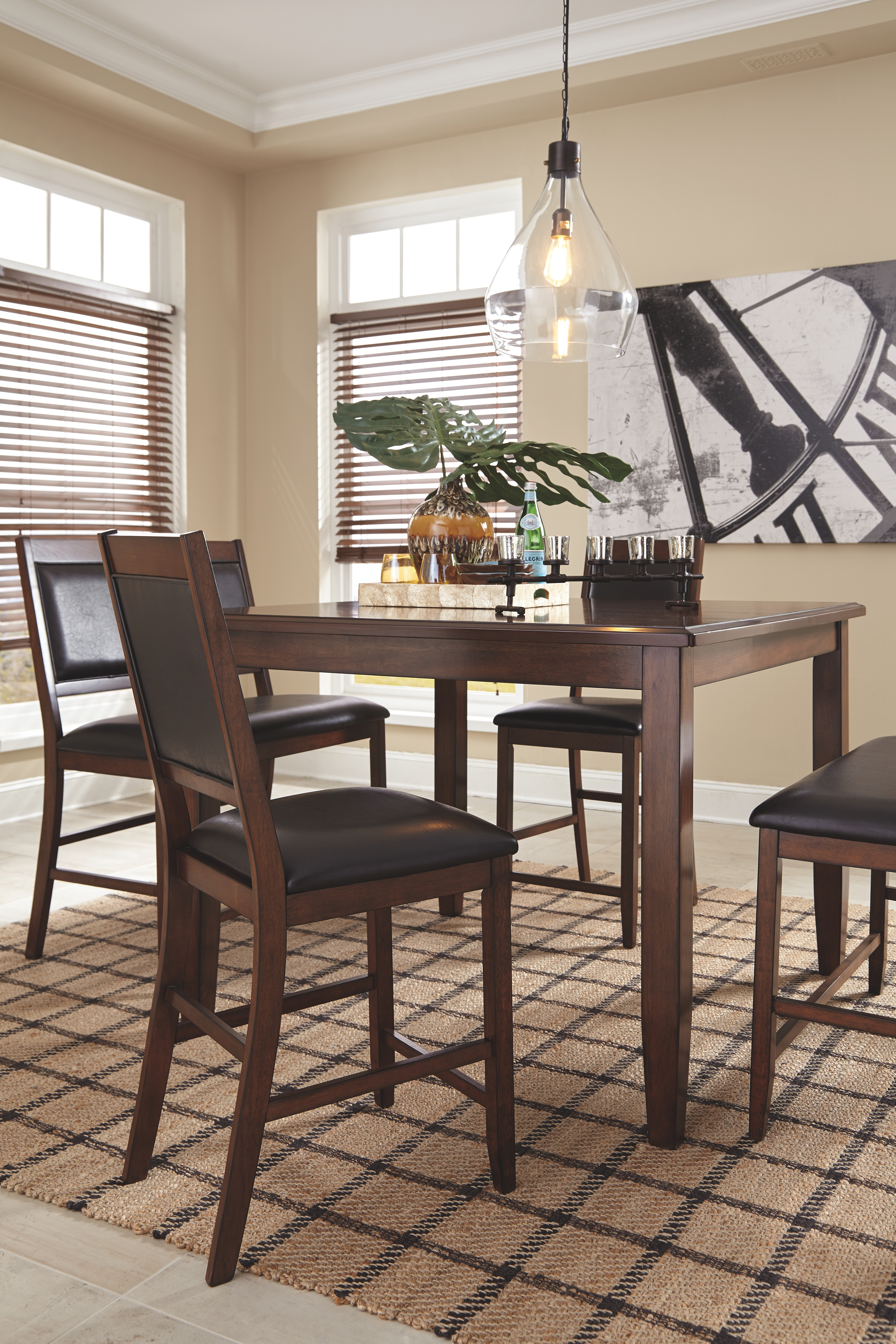 Meredy Counter Height Dining Room Table And Bar Stools Set Of 5 By Signature Design By Ashley 451325699 Turner S Budget Furniture