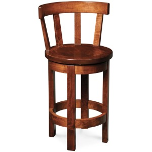 Barrel Swivel Barstool with Wood Seat 24""