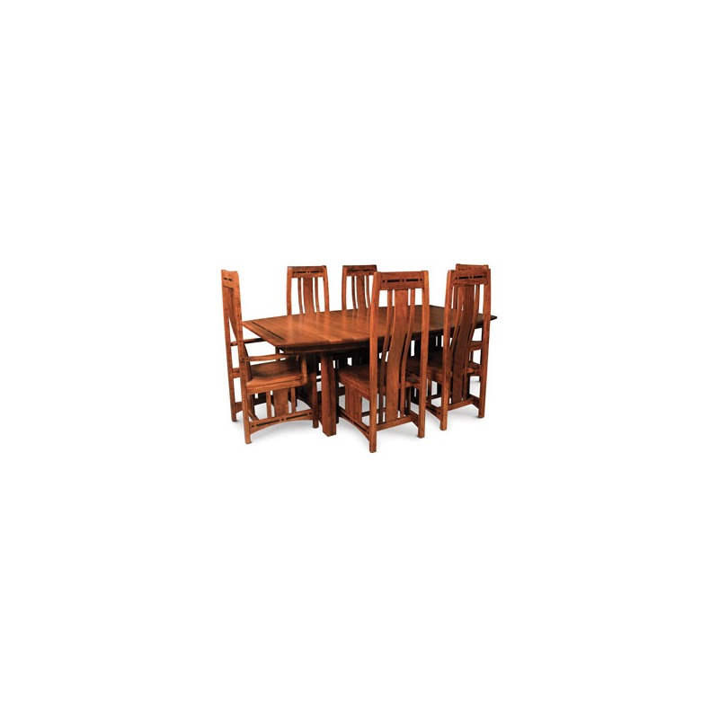Aspen Arm Chair with Inlay, Wood Seat, Cherry