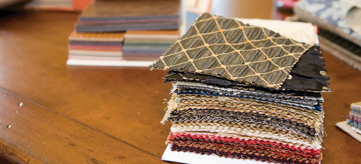 Fabric Samples on Wood Table