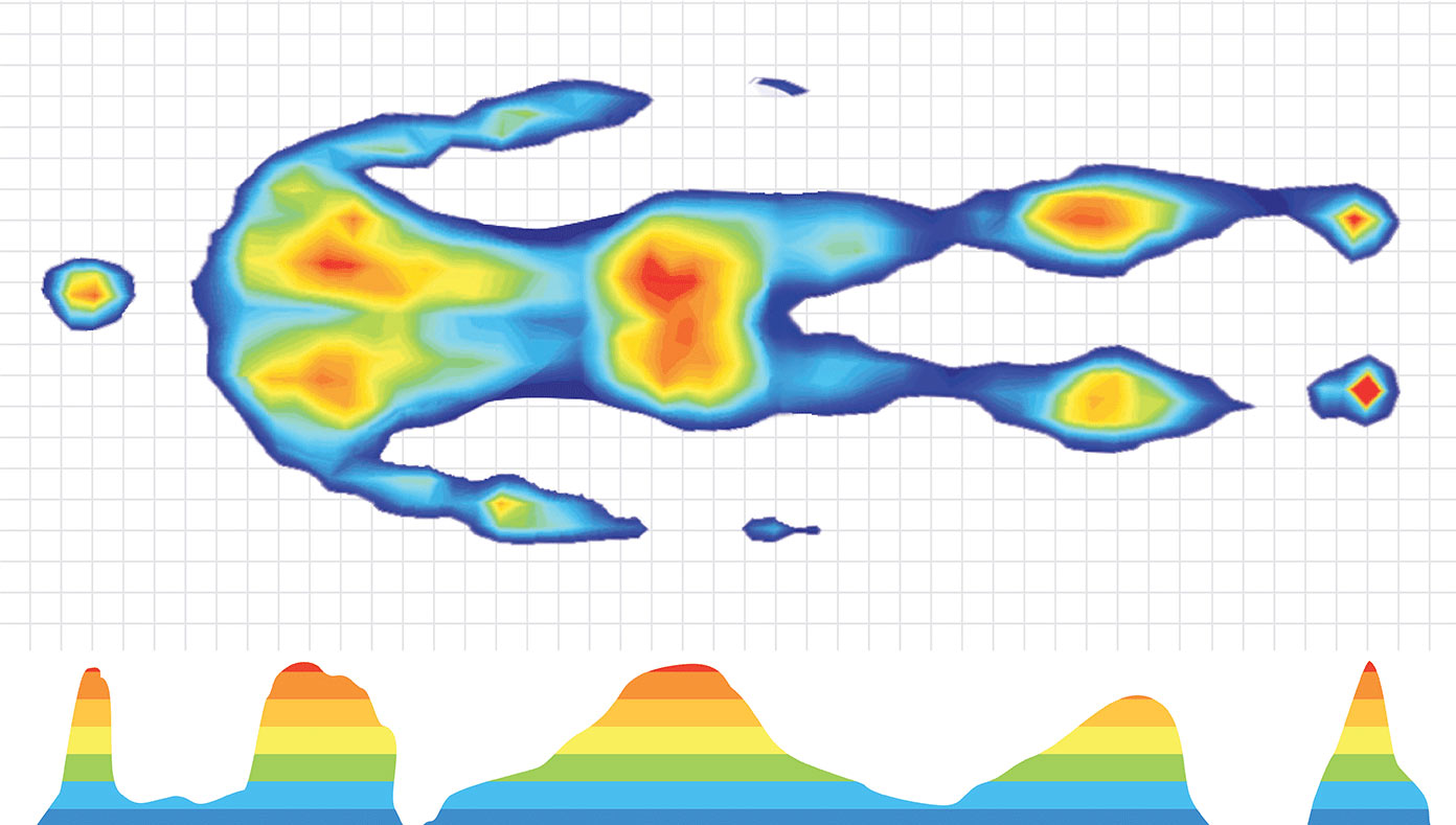 Example of peak pressure mapping of the human body