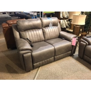 Silver Screen Power Double Reclining Loveseat w/ Arm Cupholders