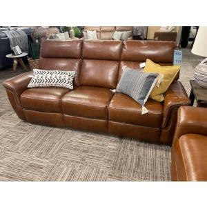 Leather Reclining Sofa w/Triple Power Headrests