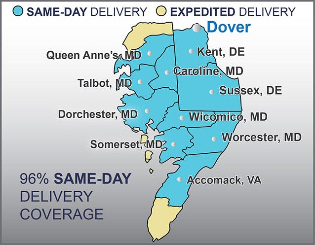 Map of FurnitureLand's delivery area