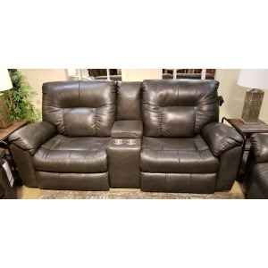Double Reclining Console Sofa w/ 2 Seats & Power Headrest