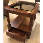 CHERRY DRAWER END TABLE W/ GLASS