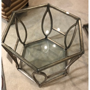 HEXAGON END TABLE ANTIQUE SILVER W/ GLASS INSTERTS