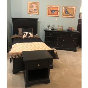 BEDROOM SET TWIN BED, DRESSER, NIGHT STAND BLACK