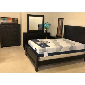 QUEEN BED SET, DRESSER W MIRROR, NIGHT STAND AND CHEST