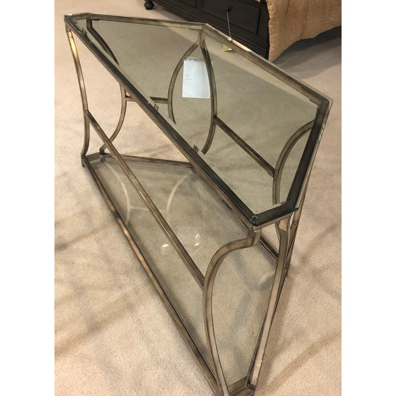 SOFA TABLE ANTIQUE SILVER W/ GLASS INSERTS