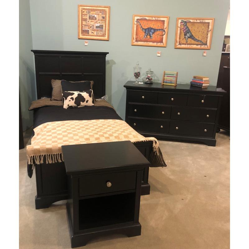 BEDROOM SET TWIN BED, DRESSER, NIGHT STAND BLACK