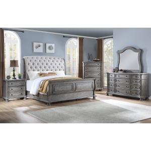 3 PC Queen Upholstered Sleigh Bedroom Set