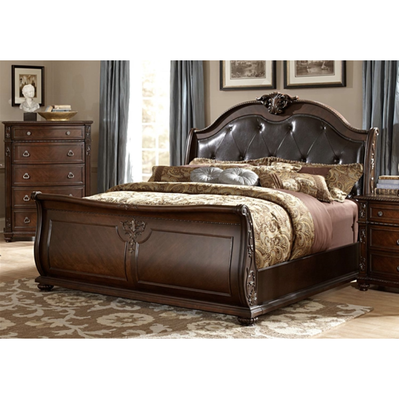 Rich Cherry Sleigh Queen Bed