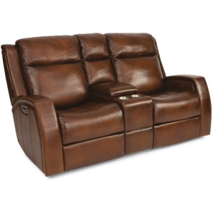 Mustang Power Reclining Loveseat with Console & Power Headrest