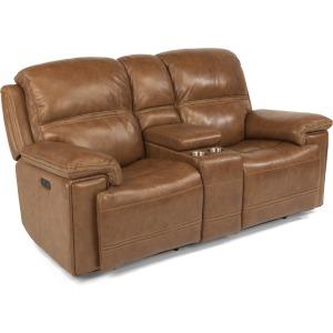 Fenwick Leather Power Loveseat w/Console & Power Headrests