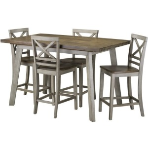 Fairhaven Counter Height Table & 4 Chairs Set - Grey