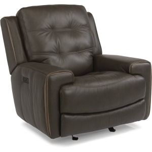 Wicklow Leather Power Gliding Recliner W/ Power Headrest