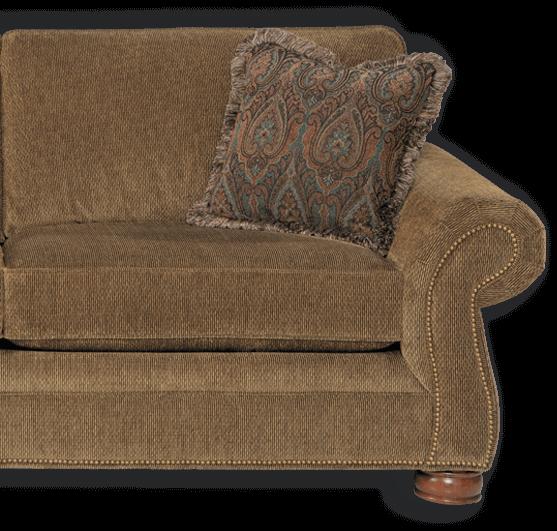 Tan sofa with trim