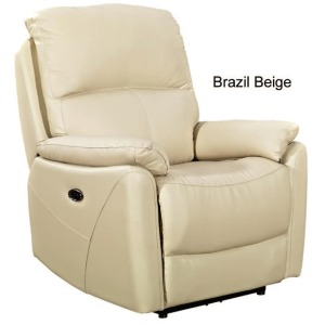 Beige Leather Power Recliner