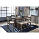 Counter Height Table, 4 Barstools & Bench