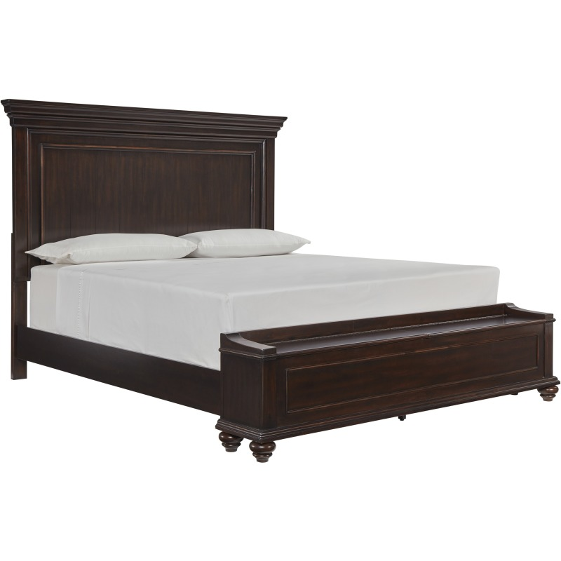 Queen Panel Bed w/ Storage Footboard