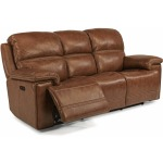 Leather Reclining Sofa with Power Headrest