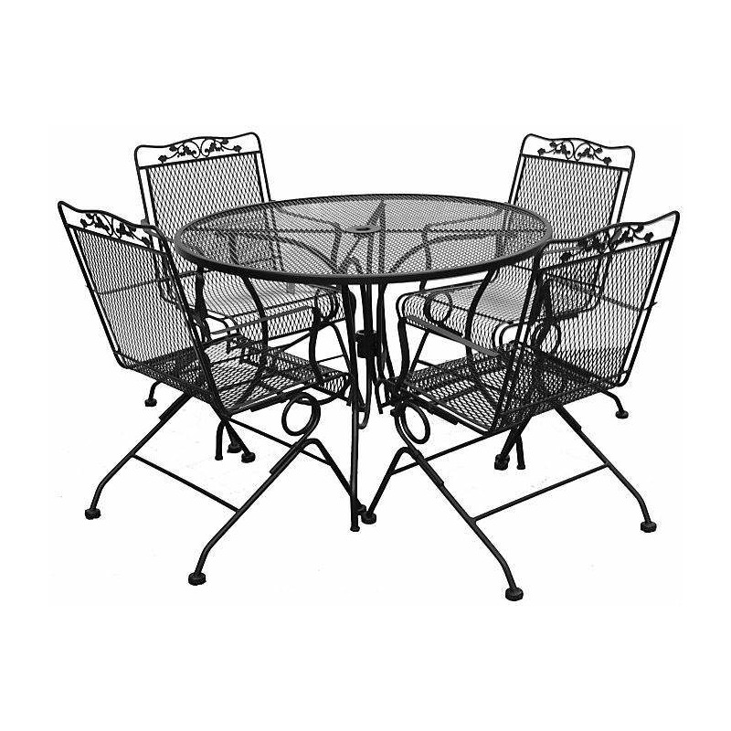 Wrought Iron Table and 4 Spring Rockers