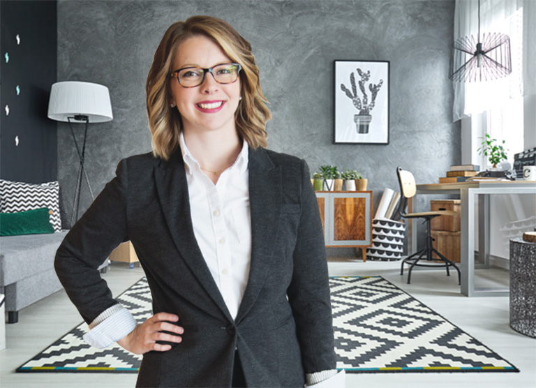 Interior designer standing in a modern and eclectic room