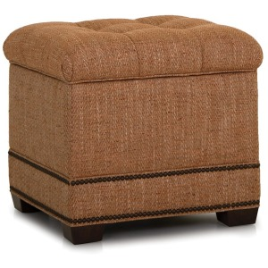 Fabric Storage Ottoman w/Tapered Leg